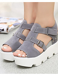abordables -Mujer Zapatos PU Primavera / Verano Confort Sandalias Media plataforma Blanco / Negro / Gris