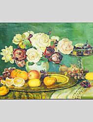 Недорогие -Ручная роспись Цветочные мотивы/ботанический Горизонтальная панорама, Modern Hang-роспись маслом Украшение дома 1 панель