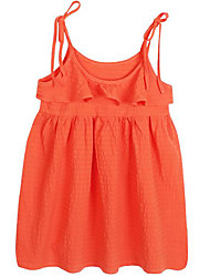 cheap -Girl's Daily Solid Dress, Cotton Spring Summer Cute Active Orange