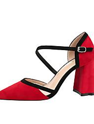 povoljno -Žene Cipele Brušena koža Proljeće Jesen Udobne cipele Cipele na petu Kockasta potpetica Zatvorena Toe za Ured i karijera Crn Sive boje
