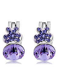 cheap -Women's Butterfly Crystal / Cubic Zirconia Crystal / Zircon Clip Earrings - Fashion / Sweet Purple Circle Earrings For Party / Evening /