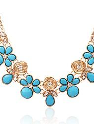 Недорогие -Жен. Цветы Бирюза Синтетический алмаз Ожерелья с подвесками  -  Классика Мода Золотой Ожерелье Назначение Повседневные Официальные