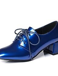 preiswerte -Damen Schuhe Lackleder Frühling Herbst Knöchelriemen Outdoor Blockabsatz Quadratischer Zeh für Schwarz Blau Wein
