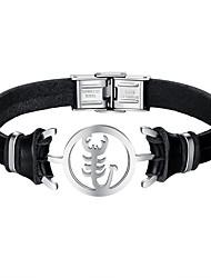 Недорогие -Муж. Кожа Cool Браслет - На каждый день скорпион Черный Браслеты Назначение Повседневные Свидание
