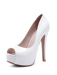 preiswerte -Damen Schuhe PU Lackleder Frühling Sommer Pumps High Heels Stöckelabsatz Peep Toe für Büro & Karriere Party & Festivität Weiß Schwarz