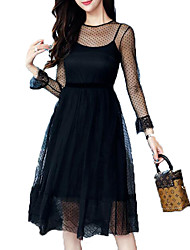 cheap -Women's Puff Sleeve Slim Sheath Dress - Solid Colored Lace High Waist