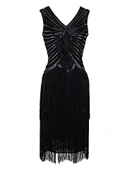 abordables -Gatsby le magnifique Gatsby Années 20 Costume Femme Robes Noir Rouge Vintage Cosplay Polyester Sans Manches