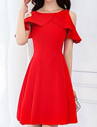 abordables -Femme Coton Mince Trapèze Robe - Basique, Couleur Pleine Taille haute Au dessus du genou Rouge