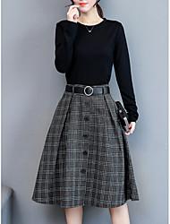 baratos -Mulheres Bainha Vestido - Básico, Xadrez Cintura Alta