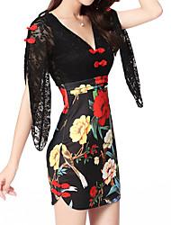 abordables -Mujer Tallas Grandes Algodón Delgado Corte Bodycon / Vaina Vestido - Básico, Un Color / Floral Alta cintura Mini Escote en V Profunda