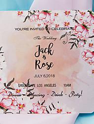 Недорогие -Плоские Свадебные приглашения 20 в комплекте 50 в комплекте - Наборы приглашений Художественный Розовая бумага