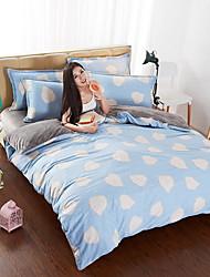 cheap -Duvet Cover Sets Geometric 4 Piece Poly/Cotton 100% Cotton Jacquard Poly/Cotton 100% Cotton 1pc Duvet Cover 2pcs Shams 1pc Flat Sheet
