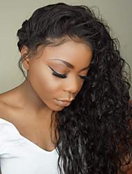 cheap -Human Hair Glueless Lace Front / Lace Front Wig Brazilian Hair Loose Wave Wig Bob Haircut / Layered Haircut / With Bangs 130% Dark Roots / Natural Hairline / 100% Virgin Women's Long Human Hair Lace