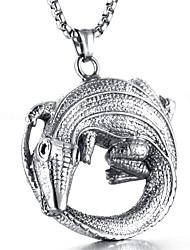 Недорогие -Муж. Ожерелья с подвесками - Сталь Титан На каждый день Мода Cool Круглый Ожерелье Назначение Повседневные Для улицы