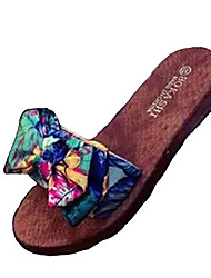 cheap -Women's Shoes Polyamide fabric Summer Comfort Slippers & Flip-Flops Flat Heel for Casual Green Blue