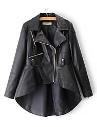Недорогие -Жен. Кожаные куртки Однотонный Бусины Плиссировка