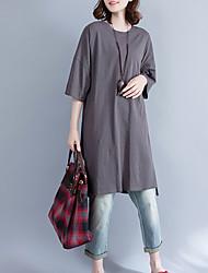 abordables -Femme Basique Tee Shirt Robe - Imprimé, Lettre Mi-long