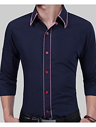 cheap -Men's Work Cotton Shirt - Solid Colored / Long Sleeve