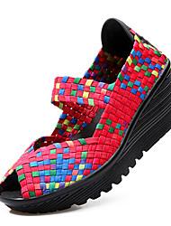 Недорогие -Жен. Обувь Ткань Весна / Лето Удобная обувь Сандалии На плоской подошве Открытый мыс Черный / Зеленый / Черный / зеленый