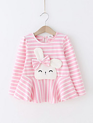 cheap -Girl's Daily Holiday Solid Striped Floral Dress, Cotton Spring Fall Long Sleeves Cute Active Blushing Pink Gray