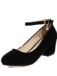 preiswerte -Damen Schuhe Kunstleder Frühling / Sommer Pumps High Heels Blockabsatz Runde Zehe Schnalle Schwarz / Rot / Party & Festivität
