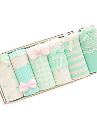 cheap -Women's Normal Micro-elastic Polka Dot Striped Color Block Seamless Panties Medium, Cotton Polyester 6-Pack Rainbow