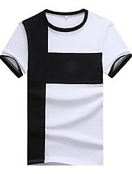 preiswerte -Herrn Gestreift Einfarbig Schachbrett Arbeit T-shirt, Rundhalsausschnitt Schlank Patchwork Baumwolle