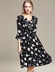 cheap -YHSP Women's Flare Sleeve Slim A Line Sheath Chiffon Dress - Floral, Ruffle Lace up Maxi V Neck