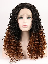 cheap -Synthetic Lace Front Wig Curly Layered Haircut Synthetic Hair Middle Part Black / Blonde Wig Women's Short Natural Wigs Lace Front