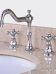 economico -Moderno Installazione centrale Separato Valvola in ceramica Una manopola Un foro Cromo, Lavandino rubinetto del bagno