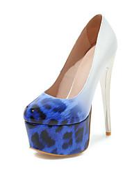 preiswerte -Damen Schuhe PU Frühling Sommer Pumps High Heels Stöckelabsatz Runde Zehe für Hochzeit Party & Festivität Schwarz Gelb Blau