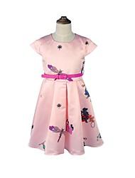 abordables -Robe Fille de Soirée Vacances Fleur Imprimé Coton Acrylique Polyester Printemps Eté Sans Manches simple Mignon Rose Claire