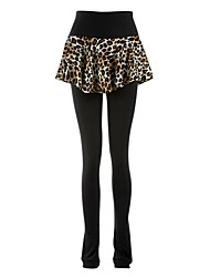 cheap -Figure Skating Footed Tights Women's / Girls' Ice Skating Pants / Trousers Black Spandex Skating Wear Leopard / Sequin Figure Skating