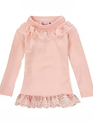 cheap -Girls' Daily Solid Tee, Cotton Polyester Spring Long Sleeves Cute Blushing Pink
