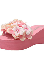 cheap -Women's Shoes PU Spring Comfort Slippers & Flip-Flops Wedge Heel Round Toe Satin Flower for White Black Blue Pink