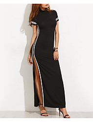 cheap -Women's Bodycon Little Black Dress - Color Block, Split Maxi