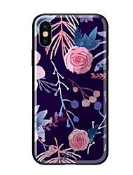 baratos -Capinha Para Apple iPhone X iPhone 8 Estampada Capa traseira Flor Rígida Vidro Temperado para iPhone X iPhone 8 Plus iPhone 8 iPhone 7