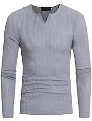 abordables -Hombre Tallas Grandes Camiseta, Escote en Pico Delgado Un Color Algodón