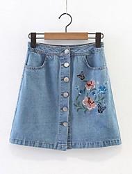 cheap -Women's Active Basic Denim A Line Skirts - Floral