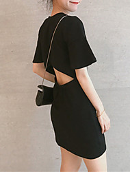 baratos -Mulheres Para Noite Básico Moda de Rua Delgado Bainha Vestido Sólido Ombro a Ombro Mini Preto