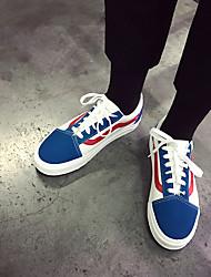 billige -Herre Sko Kanvas Forår Efterår Komfort Sneakers for Afslappet Hvid/Blå