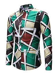 Недорогие -Муж. С принтом Рубашка Активный Уличный стиль Цветочный принт Геометрический принт