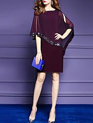 abordables -Femme Grandes Tailles Manche Chauve-souris Gaine Robe - Paillettes, Couleur Pleine Mi-long