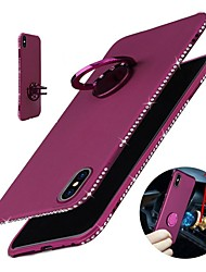 abordables -Funda Para Apple iPhone X iPhone 8 Diamantes Sintéticos Soporte para Anillo Funda Trasera Un Color Suave TPU para iPhone X iPhone 8 Plus