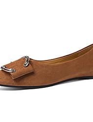 abordables -Femme Chaussures Fourrure Printemps / Automne Confort / Escarpin Basique Ballerines Talon Plat Noir / Marron
