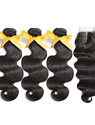 cheap -Peruvian Hair Body Wave Wavy Human Hair Weaves 4pcs With Baby Hair High Quality Sexy Lady Extention Hair Weft with Closure All Birthday