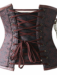 cheap -Cosplay Steampunk Costume Women's Corset Red Vintage Cosplay Spandex Sleeveless