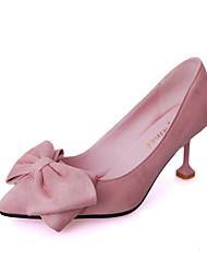 preiswerte -Damen Schuhe Wildleder Frühling Sommer Pumps High Heels Kitten Heel-Absatz Offene Spitze Spitze Zehe Schleife für Normal Party &
