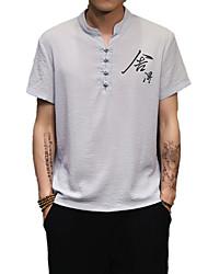 Недорогие -Муж. С принтом Рубашка Хлопок / Лён Шинуазери (китайский стиль) Буквы / С короткими рукавами