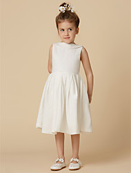cheap -A-Line Knee Length Flower Girl Dress - Cotton Sleeveless Jewel Neck with Bow(s) by LAN TING BRIDE®